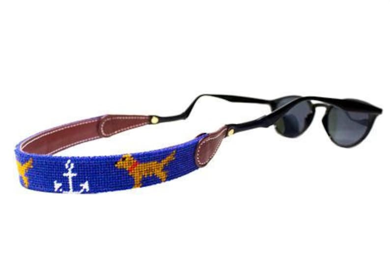 Golden Retriever and Anchor Needlepoint Sunglass Straps by Asher Riley