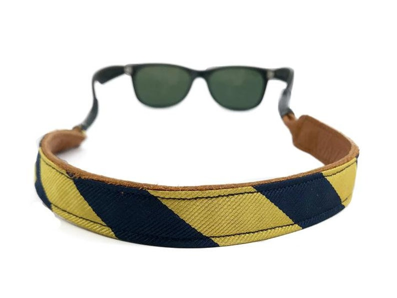 Yellow and Navy Silk/Leather Sunglass Straps