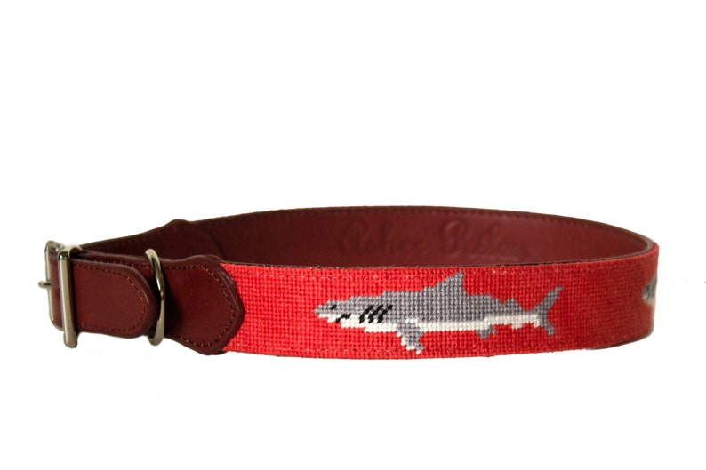 Shark Needlepoint Dog Collar