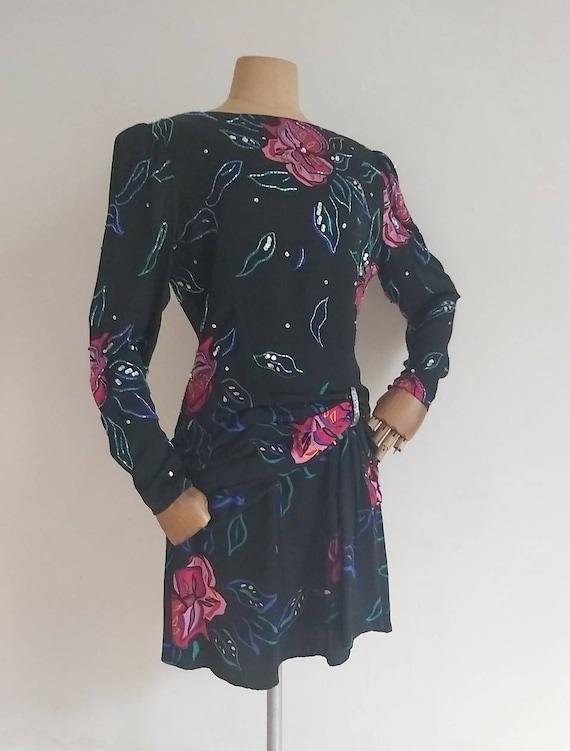 Vintage 80's Floral sequins,beads silk mini dress