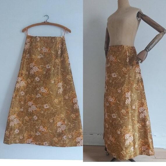 60s Orange floral silk taffeta long maxi skirt (10