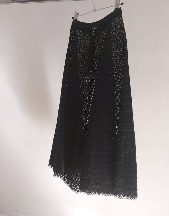 50s  Antique French black lace net flared skirt