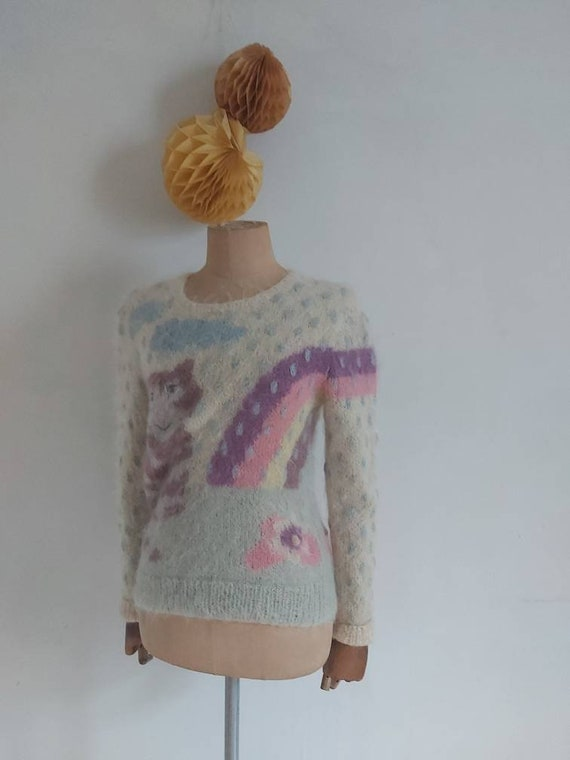 80's Susie Lee Mohair wool hand knit sweater (8-10