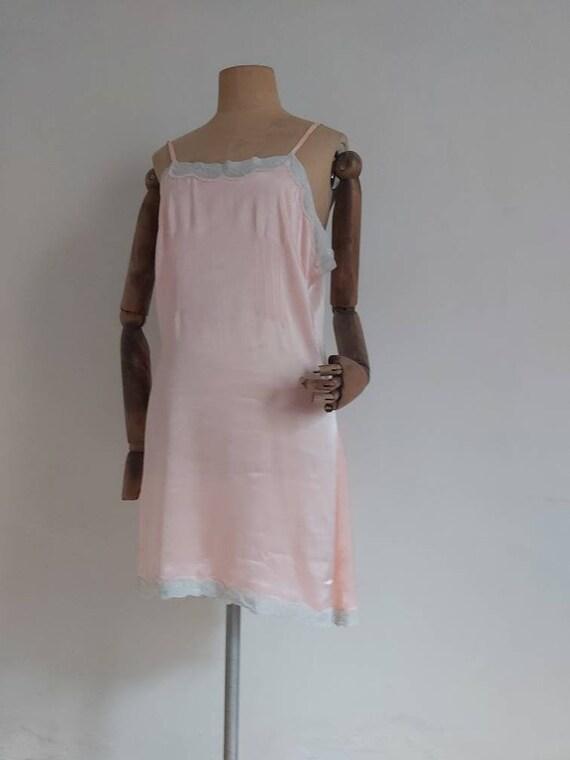 30's Pink rayon lace trim  short slip dress