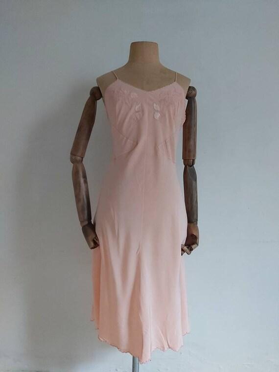 Vintage 30s salmon pink silk slip - image 1