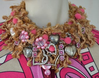 Heart necklace, Fun Valentine's necklace, Whimsical necklace, Avant garde necklace, Artsy necklace, Over the top necklace, OOAK necklace