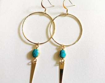 Turquoise Hammered Hoop