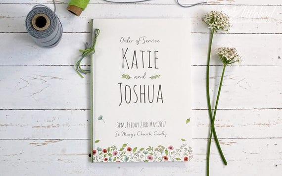 Wedding order of service booklet, wedding program. Wild floral Illustration  (A5, Min. order x30)