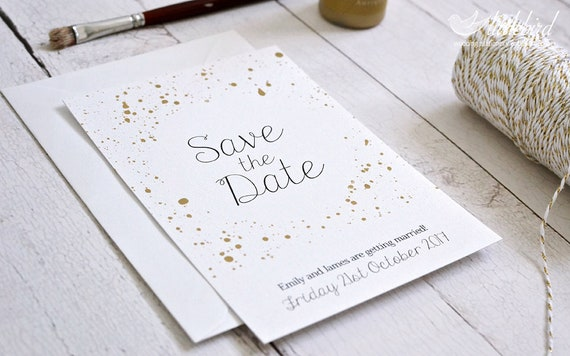 Personalised Save The Date Wedding Invitation Cards Simple White And Gold Design A6 Card Min Order X30