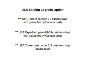 USA Tracked package 6-7 business days (Not guarantee by Canada post).