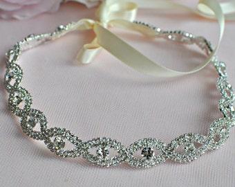 Ready To Ship - Wedding Hair Accessory, Beaded Headband, Bridal Headband, Crystal Ribbon Headband, rhinestone headband, hair accessories