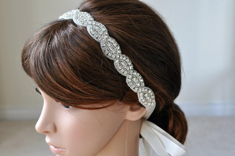 accessory rhinestone headband Bridal Headband Wedding Hair Accessory Beaded Headband bridal hair accessory Crystal Ribbon Headband