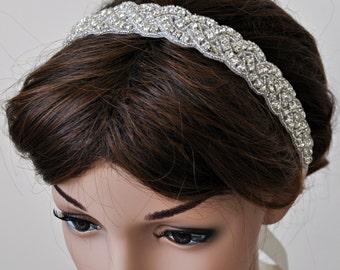 Wedding Hair Accessory, Beaded Headband, Bridal Headband, Crystal Ribbon Headband, rhinestone headband, hair accessories, bridal heairpiece