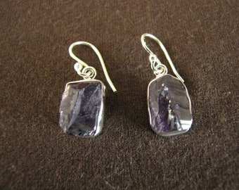Sterling Silver Rough Amethyst Gemstone Drop Earringa