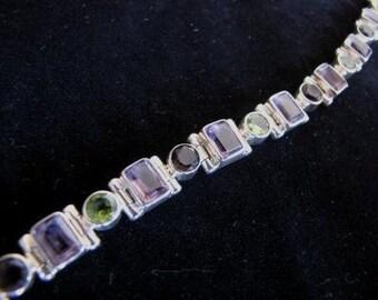 Sterling Silver, Amethyst, Peridot and Smoky Quartz Bracelet
