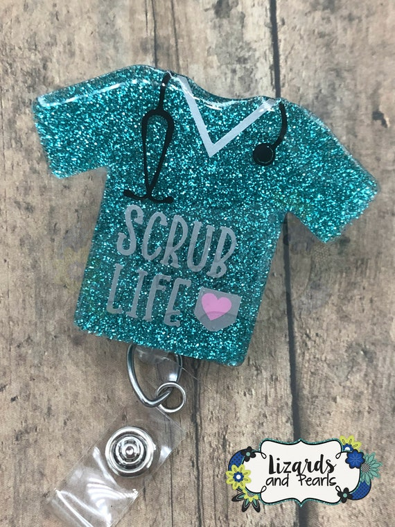 Scrub Top Badge Reel Autisms Glitter Custom Made