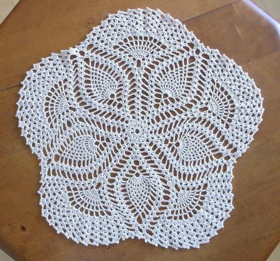 Crochet Doily In Ecru Natural Cream Pentagon Doily Doily Etsy