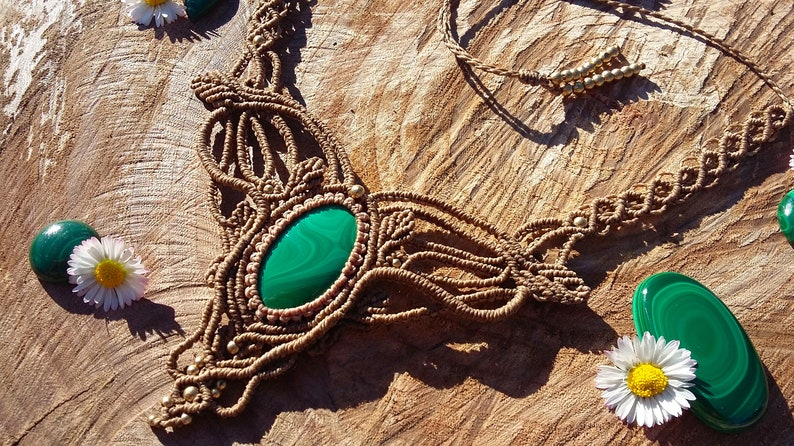 festival necklace necklace with healing malaquite boho macrame necklace brown choker with malachite Macram\u00e9 necklace with malaquite