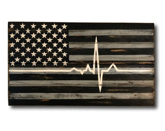 EMS Flag - Paramedic Flag - Thin White Line Wood Flag - EMS Gift - EMT Gift - Ems Wall Art - Paramedic Gift - Ems Home Decor - Heartbeat Ekg