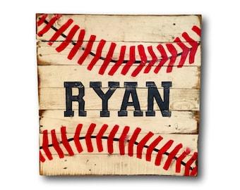 Wood Baseball Sign - Baseball Bedroom Decor - Baseball Nursery Decor - Boy Name Sign - Baseball Art - Baseball Gift - Baseball Player Gift