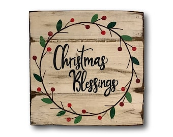 Christmas Blessings Sign- Christmas Decorations- Wood Holiday Sign- Farmhouse Christmas Decor- Christmas Gift- Christmas Mantel Decor