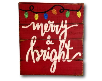 Merry and Bright Wood Sign- Christmas Decoration- Wood Christmas Sign- Christmas Mantel Decor- Christmas Gift- Glitter Christmas Decor