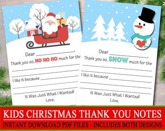 kids christmas thank you cards instant download printable fill in the blank christmas notes xmas letter santa thank you snow much - Christmas Thank You Cards