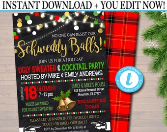ab97adf3d25332 EDITABLE Funny Christmas Party Invitation, Schweddy Balls Dirty Santa Party  Holiday Invite, Ugly Sweater Hipster Gift Party INSTANT DOWNLOAD