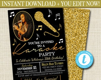 Karaoke etsy editable adult karaoke party invitation birthday invitation digital photo invite black gold party invitation karaoke party singing party stopboris Images