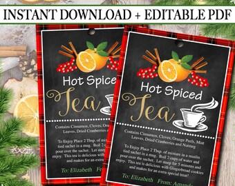 EDITABLE Hot Spiced Tea Christmas Gift Tags, Secret Santa, Office Staff Teacher Gift Holiday Printable, White Elephant INSTANT DOWNLOAD