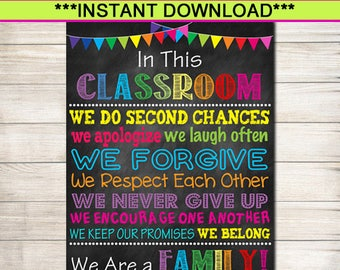 Printable Classroom Poster Decor Teacher When You Enter This Rules Sign Gifts We Are A Family