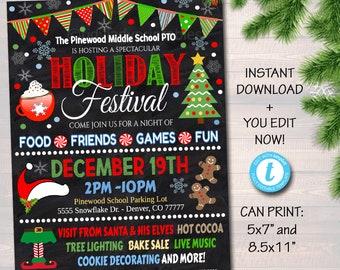 Editable Holiday Festival Christmas Flyer Poster Printable Christmas Invitation Community Xmas Event Church School Pto Pta Fundraiser Invite