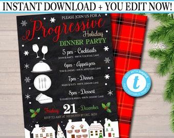 Editable Holiday Progressive Dinner Party Invitation, Christmas Potluck Party Invite Chalkboard Printable, Xmas Round Robin INSTANT DOWNLOAD