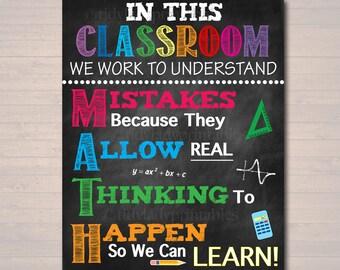 Math Classroom Decor Etsy