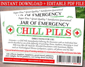 graphic about Printable Chill Pill Label named EDITABLE Chill Supplements Label Amusing Gag Present Well-informed