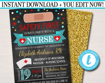 Editable Nurse Graduation Invitation Chalkboard Printable Digital College Grad Invite Party RN Announcement INSTANT DOWNLOAD