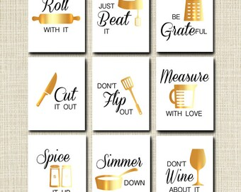kitchen wall art kitchen decor printable signs instant download gold foil kitchen utensil art be grateful modern gallery wall set of 9 - Kitchen Sayings
