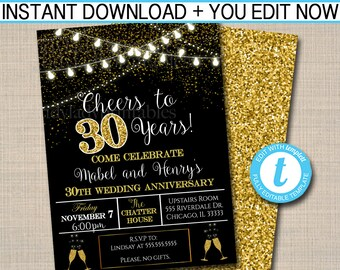 30th anniversary invitations etsy editable 30th party invitation birthday printable cheers to thirty years digital 30th wedding anniversary invite black gold party stopboris Image collections