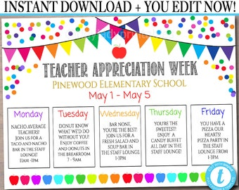 This is a picture of Bewitching Teacher Appreciation Week Printables