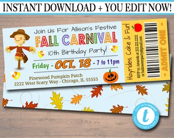 Printable Fall Carnival Ticket Invitation Festival Party Birthday Kids Halloween Invite INSTANT DOWNLOAD