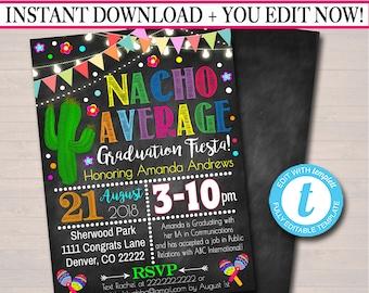 editable teacher graduation invitation chalkboard printable etsy
