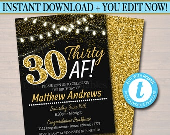EDITABLE 30th Birthday Invite Bday Thirty Af Faux Gold Glitter Party Lights Dirty Invitation INSTANT DOWNLOAD
