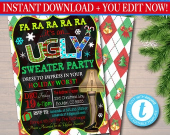 Ugly Sweater Party Invitations Etsy