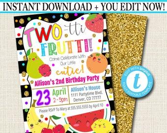 EDITABLE Two Tti Frutti Party Birthday Invitation Girls Toddler 2 Year Old Digital Invite Tutti Fruti Summer INSTANT DOWNLOAD