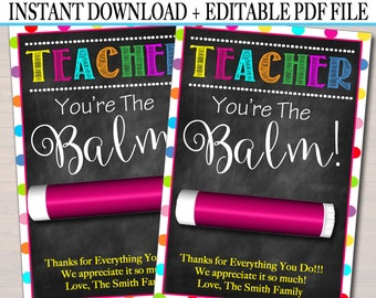 photograph regarding You're the Balm Teacher Free Printable identified as Youre the balm Etsy