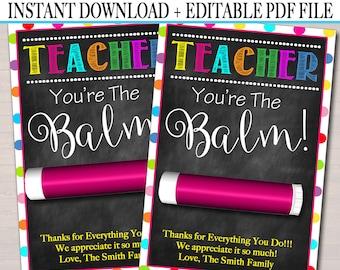 photograph regarding You're the Balm Teacher Free Printable identified as Youre the balm Etsy
