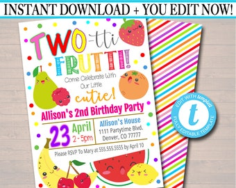 EDITABLE Two Tti Frutti Party Birthday Invitation Girls Toddler 2 Year Old Digital Invite Tutti Fruti Summer INSTANT DOWNLOAD