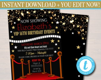 editable red carpet ticket invitation hollywood movie party etsy