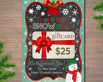 Editable thank you a lottery gift card holder printable etsy editable christmas thank you snow much gift card holder printable teacher gift xmas gift card instant download business gift card holder reheart Gallery