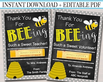 Printable Bee Chapstick Tags, Volunteer Labels, Printable, INSTANT + EDITABLE, Thank You Gift, PTA Staff Gift Teacher Appreciation, Lip Balm